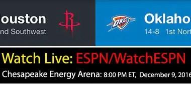Westbrook v Harden: NBA Live ESPN Schedule – Dec. 9