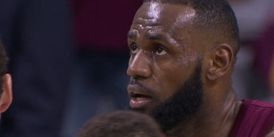 LeBron James looks on