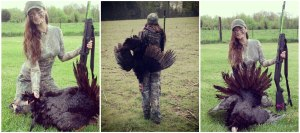 "Beka Garris ""Wilderness Babe"" Took this long beard opening day of Indiana 2013 in the pouring rain."