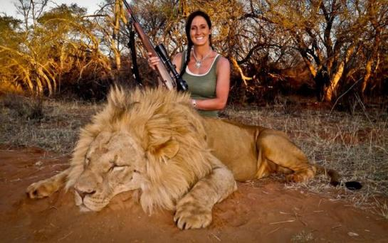 Melissa Bachman with her legally harvested lion.