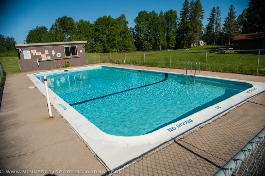 The heated swimming pool at Veterans on the Lake