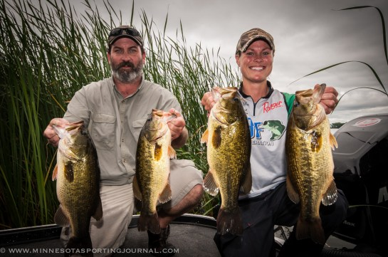 JIm Eide and Mandy Uhrich with day 1 fish.