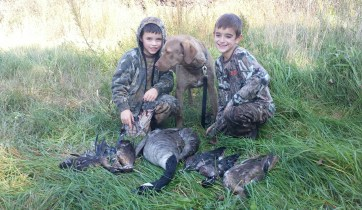 Xander, Dominick, and Trapper. Trapper made his first retrieve here!