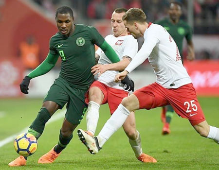 62583f4592c Odion Ighalo on Nigeria s new Nike kit against Poland in a friendly  recently. Football fans have gone crazy for Nigeria s new Nike kit as they  queued ...