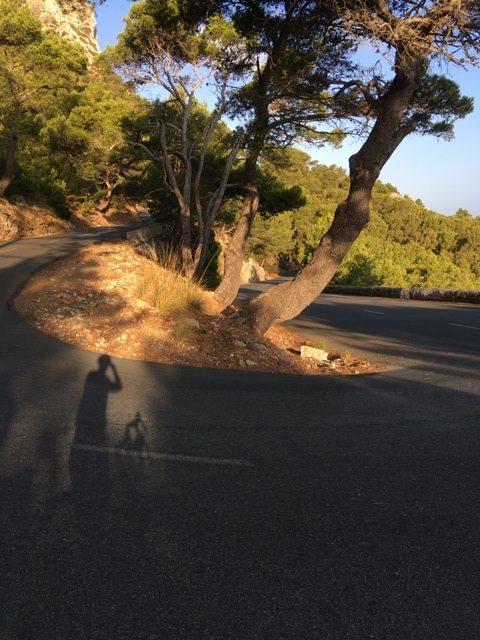 Hairpin bend on the way down to Formentor beach.
