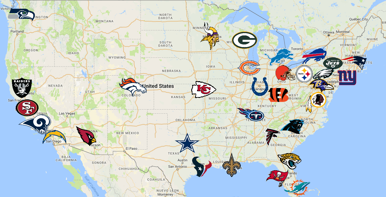 Nfl Map Teams Logos Sport League Maps Maps Of Sports Leagues - Map-of-sports-teams-in-us