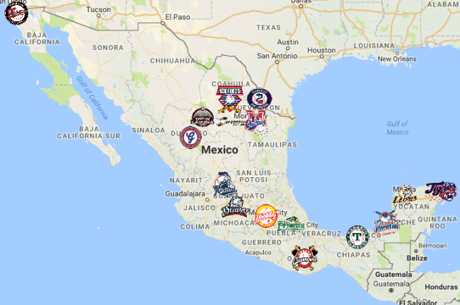 Mexican League Map | Teams | Logos - Sport League Maps