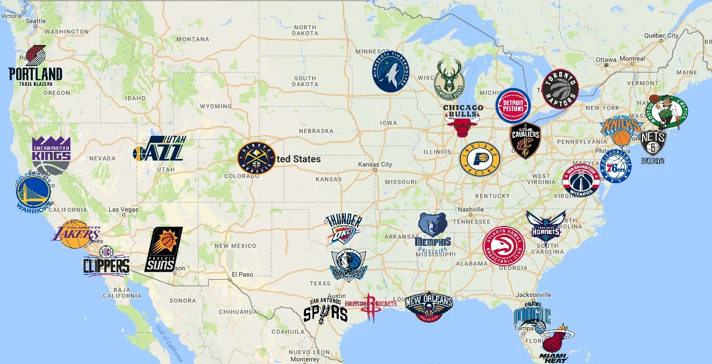NBA Map | Teams | Logos - Sport League Maps : Maps of Sports ... United States Map On A Baseball Team on baseball japan map, 2014 mlb teams map, baseball new york, baseball map of america, mlb baseball teams on map, baseball road trip map,