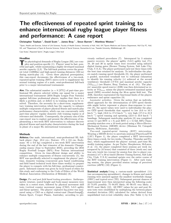 The effectiveness of repeated sprint training to enhance