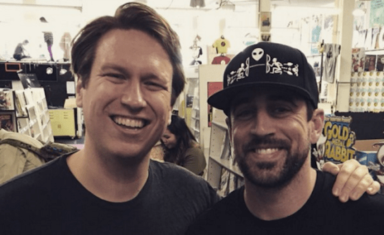 Aaron Rodgers had an interesting UFO story for comedian Pete Holmes [left]. (Twitter/PeteHolmes)