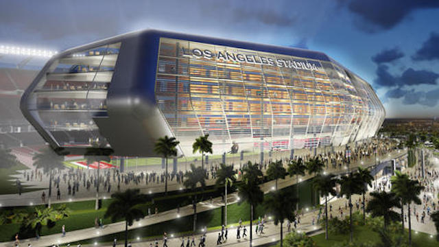 This is what a Chargers and Raiders stadium might look like. (Manica Architecture via LA Times)