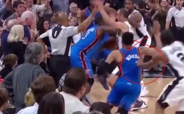 Leonard grabs Westbrook's jersey