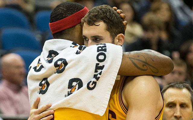 Seems like LeBron James and Kevin Love get along.  (USATSI)