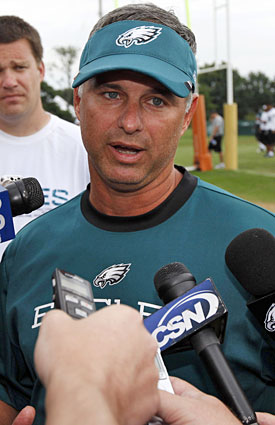 Eagles trainer Rick Burkholder says Mike Patterson continues to undergo tests to determine further action. (AP)