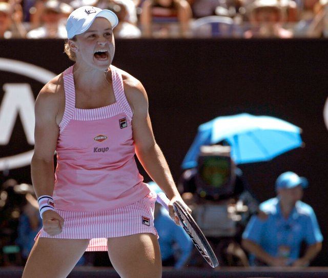Australias Ashleigh Barty Celebrates After Defeating Russias Maria Sharapova In Their Fourth Round Match At The Australian Open Tennis Championships In