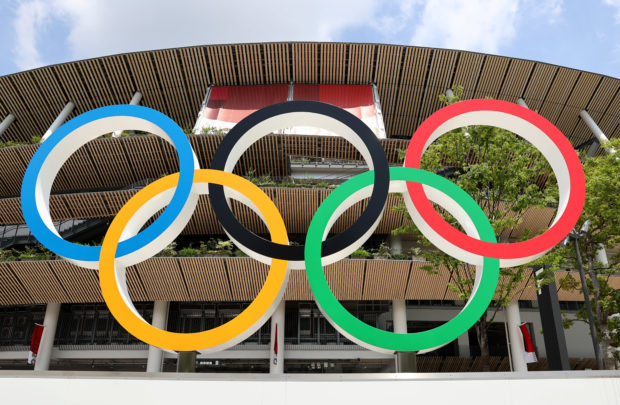 Tokyo 2020 Olympics Preview - Tokyo, Japan - July 20, 2021 General view of the Olympic Rings outside The National Stadium, the main venue of the Tokyo 2020 Olympic Games
