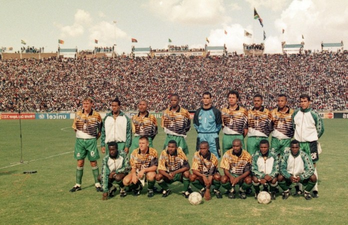 SOUTH AFRICA - FEBRUARY 03, A view of the South African National soccer team during the African Nations Cup Final match between South Africa (2) and Tunisia (0) on February 03, 1996 in South Africa Photo by Duif du Toit / Gallo Images