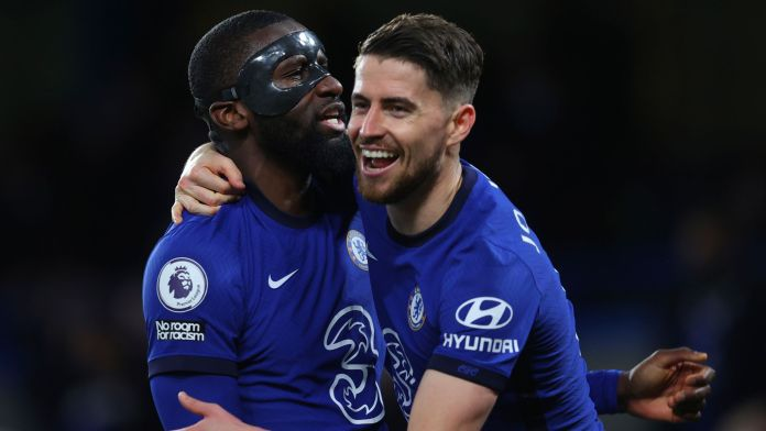 Antonio Rudiger and Jorginho scored the goals as Chelsea moved above Leicester into third