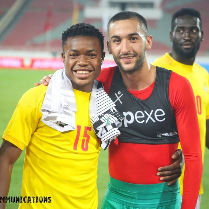 Fatawu Issahaku (left) and Hakim Ziyech of Chelsea FC during Ghana vs Morocco friendly