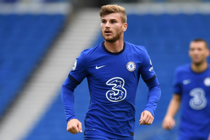 Chelsea's German striker Timo Werner is pictured during the pre-season friendly football match between Brighton and Hove Albion and Chelsea at the American Express Community Stadium in Brighton, southern England on August 29, 2020. - The game is a 'pilot' event where a small number of fans will be present on a socially-distanced basis. The aim is to get fans back into stadiums in the Premier League by October. (Photo by Glyn KIRK / AFP) (Photo by GLYN KIRK/AFP via Getty Images)