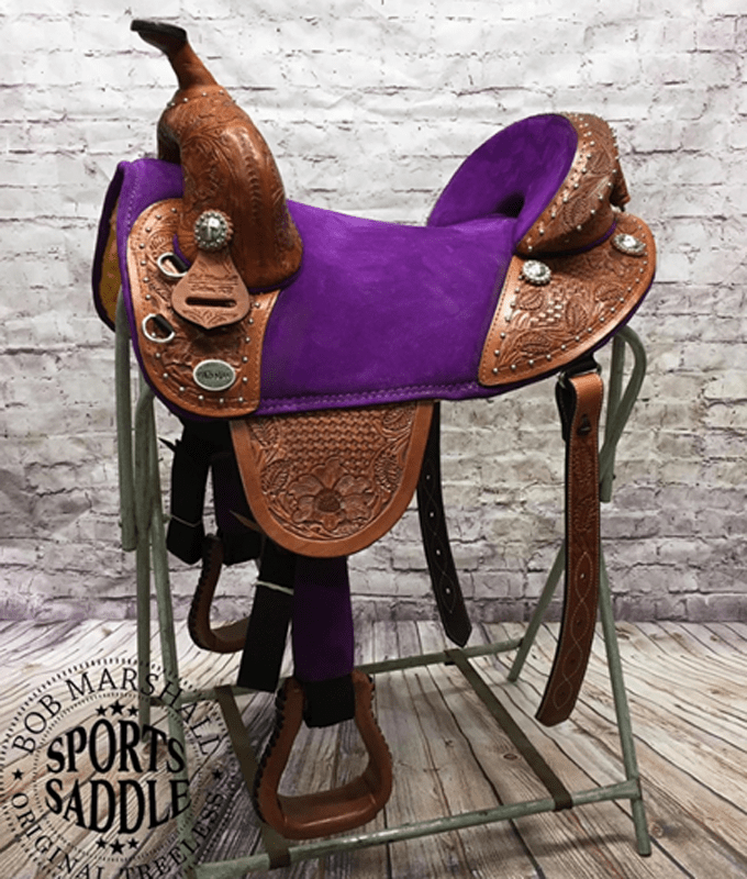 Equestrian horse saddle painted leather barrel