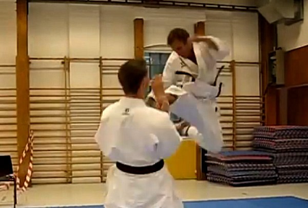 Jumping Front Kick in Karate