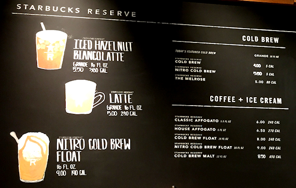 Starbucks Reserve Menu Palm Springs California