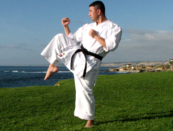 This is the preparation of a Front Kick in Karate