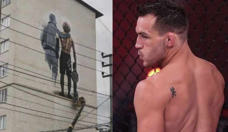 Michael Chandler appreciated the image of Khabib and his father on a building in Derbent.