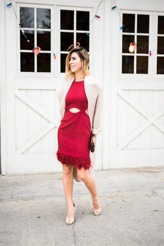 Holiday dress with feathers, ASOS Duster Coat, Schutz sandals, Louis Vuitton Satchel, Holiday Party Fashion Ideas