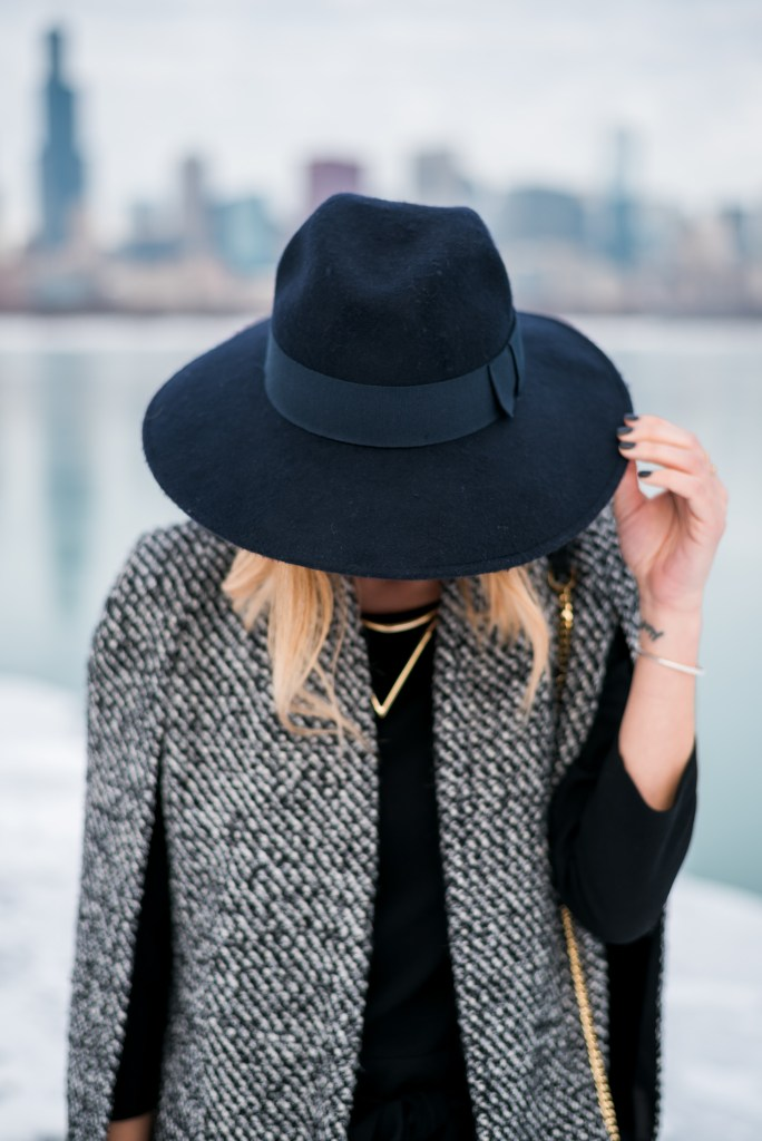 T and J Designs Tweed Cape, Catarzi Wide Brim Fedora Hat in Marine, Madewell Sloan Jumpsuit, Ivanka trump Sunal Booties, Chicago Blogger, Sports, Fashion, Sports and Fashion