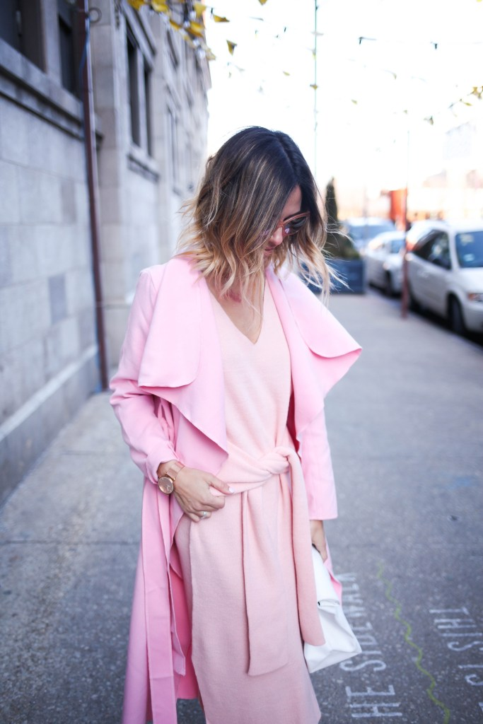 Pink tie front sweater dress, Sole Society jeweled pointed toe pump, Easter Sunday fashion ideas, Pink Long Sleeve Lapel Pockets Coat