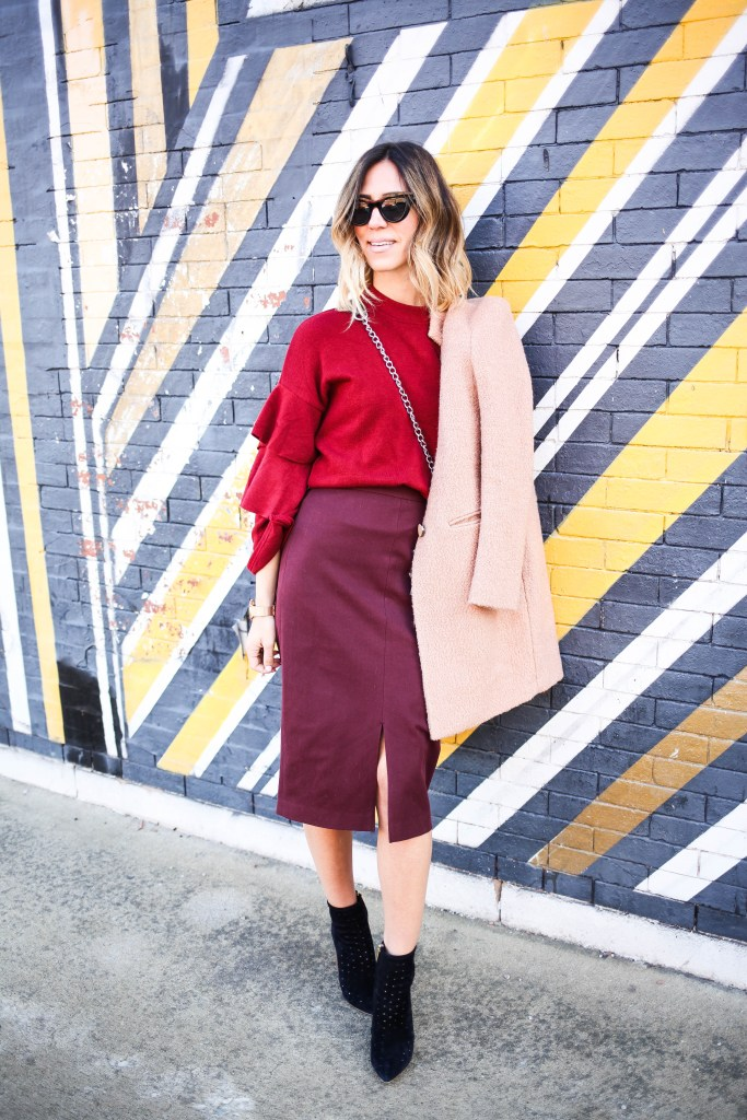 Red Stand Collar Cascading Ruffle Sleeve Blouse, Burgundy Pencil Skirt, QUAy Cat Eye Sunglasses, Monochromatic Look