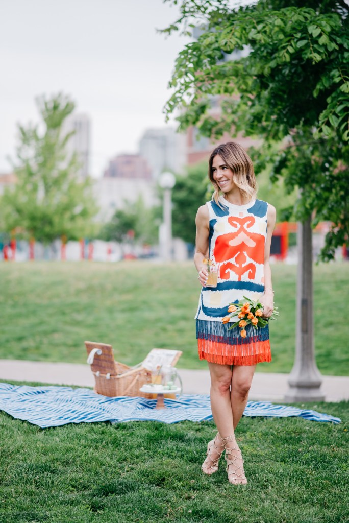 Belvedere Peach Nectar, Kavita Ghillie Sandals, Summer Picnic, Chicago Fashion Blogger,  Multicolor print sleeveless fringe bottom dress