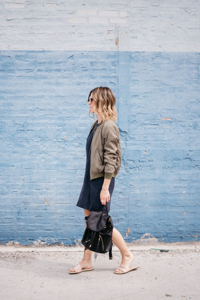 genuine suede dress, quay mirrored sunglasses, Chicago fashion blogger, Linea Pelle Backpack