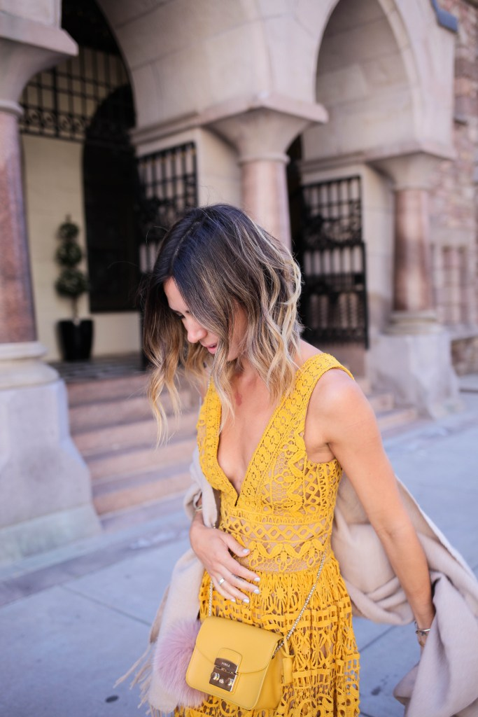 Yellow Plunge Neck High Waist Lace Dress, Furla Mini Cross Body Bag, Furla Fur Charm, Valentino Rocketed Pump