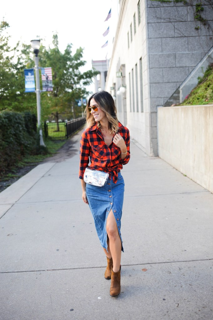 Levis NFL Plaid Western Shirt, Game Day Fashion, Chicago Fashion Blogger