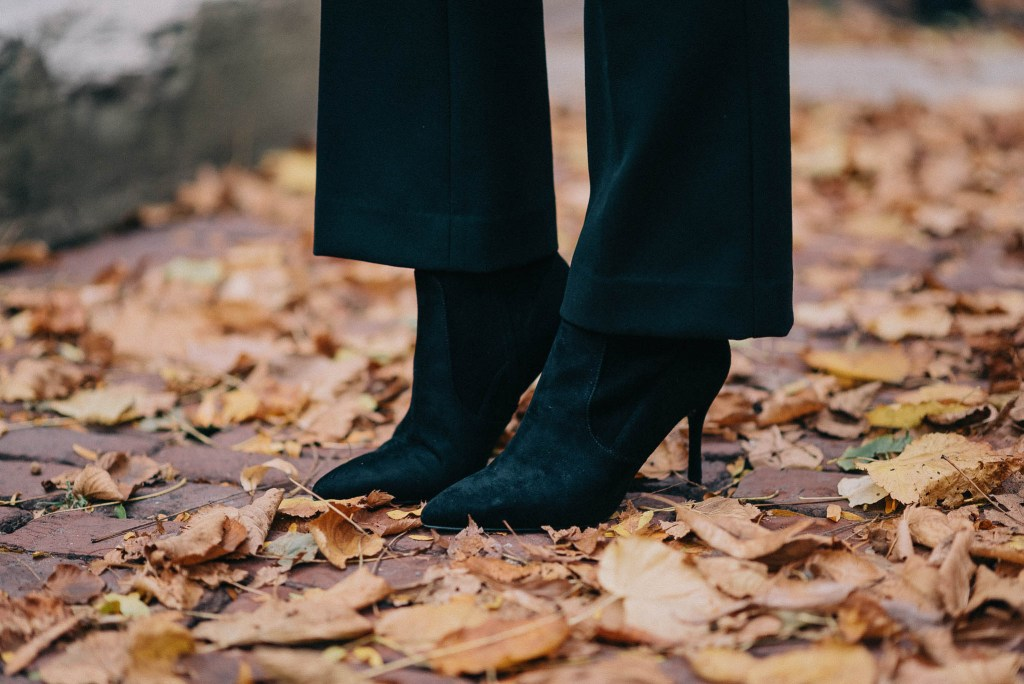 Kick Flare Cropped Pants and Suede Ankle Booties