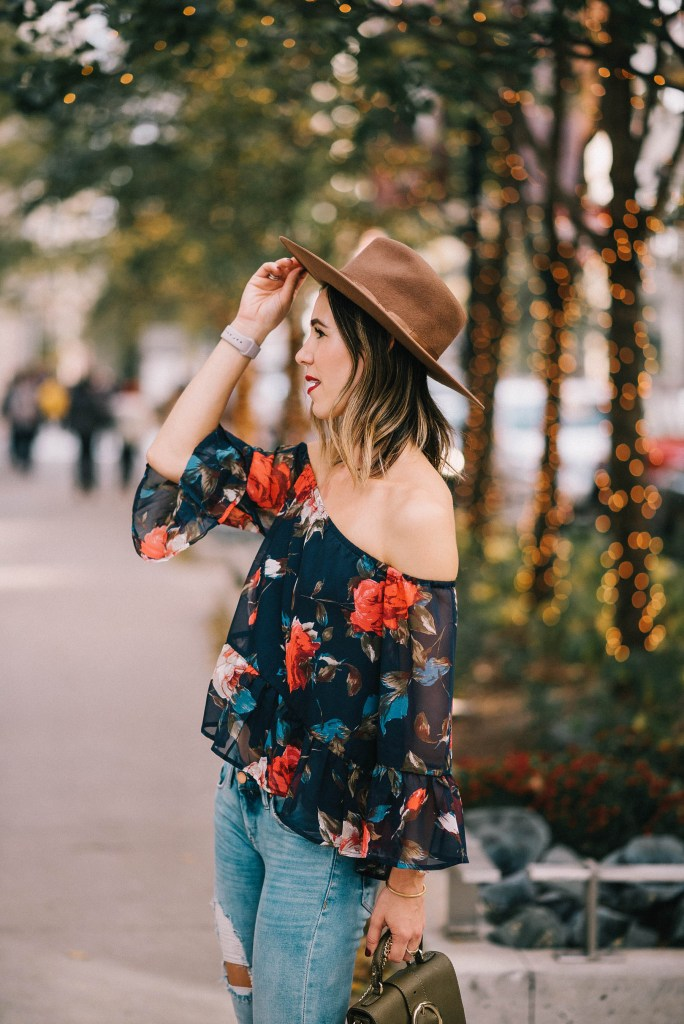 Multicolor Floral Off The Shoulder Blouse and Brixton Hat