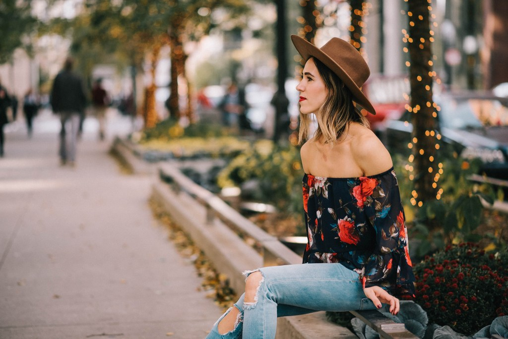 Multicolor Floral Off The Shoulder Blouse and Holiday Fashion