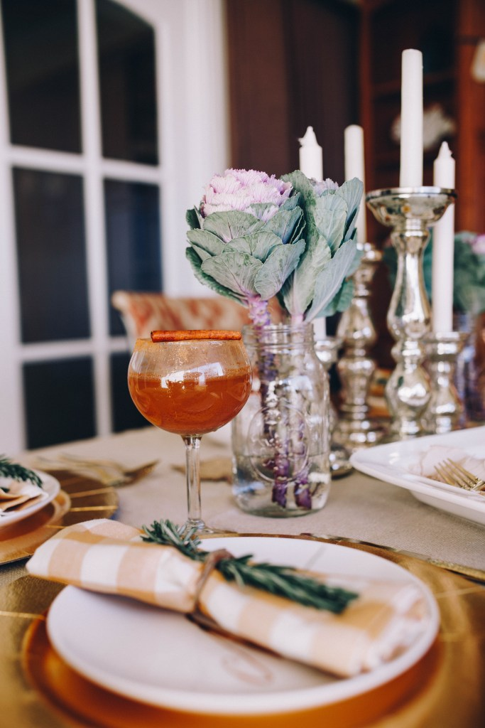 Thanksgiving Cocktail and Kale Flower Floral Idea