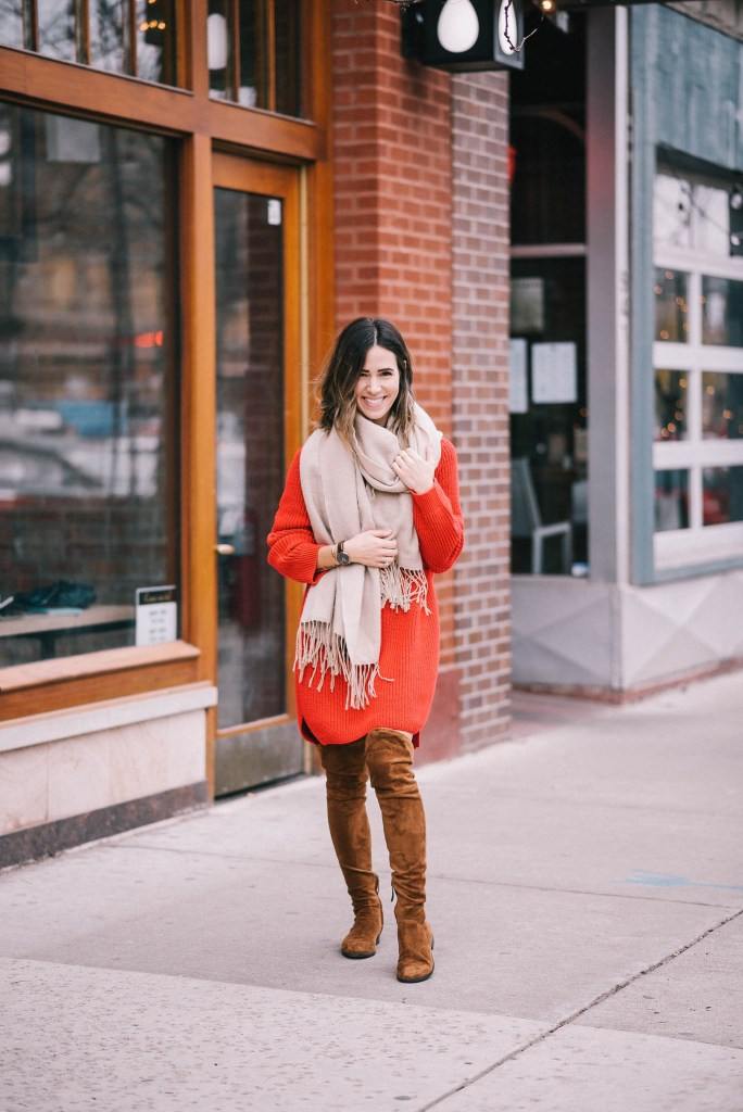 Oversized scarf and oversized jumper dress