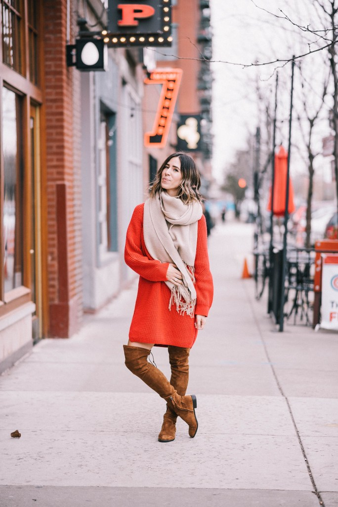Shopping small with American Express and oversized jumper dress