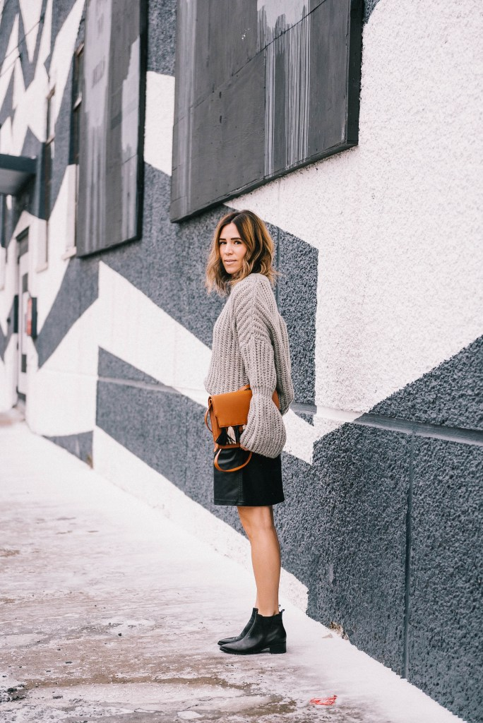 Blogger Mary Krosnjar and Grey Bell Sleeve Oversized Sweater