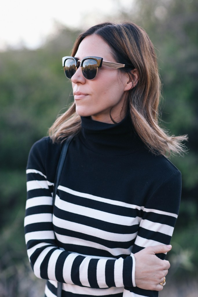 Striped Turtleneck Dress and Free People Cat Eye Sunglasses