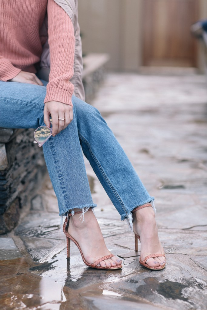 H&M distressed denim with nude strap sandals