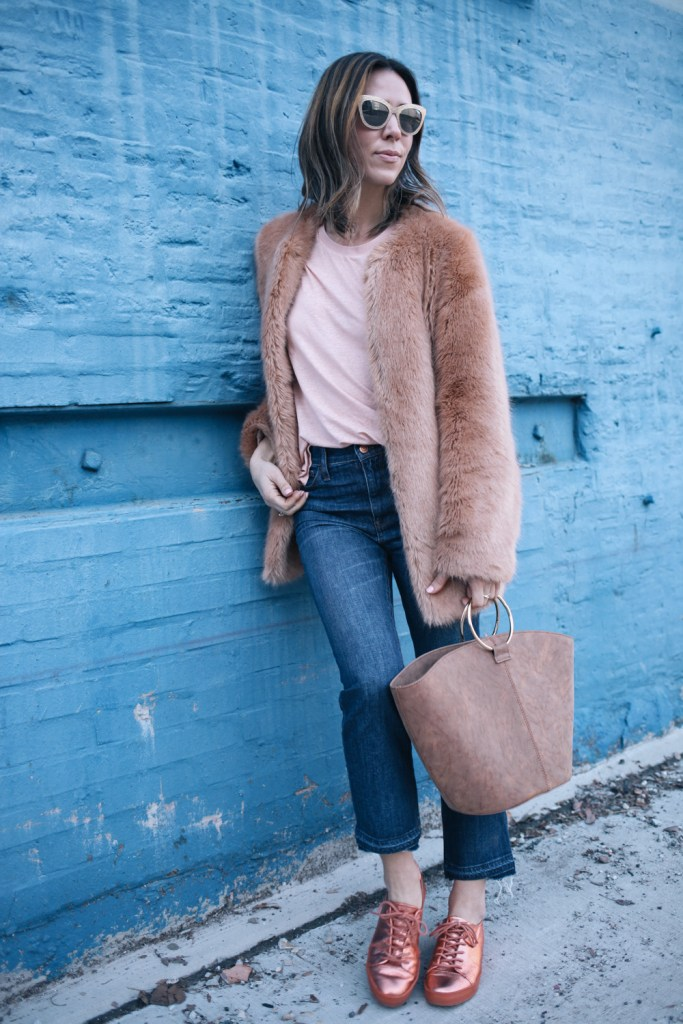 Blogger Mary Krosnjar wearing ASOS Metallic Sneakers and J.crew cropped denim