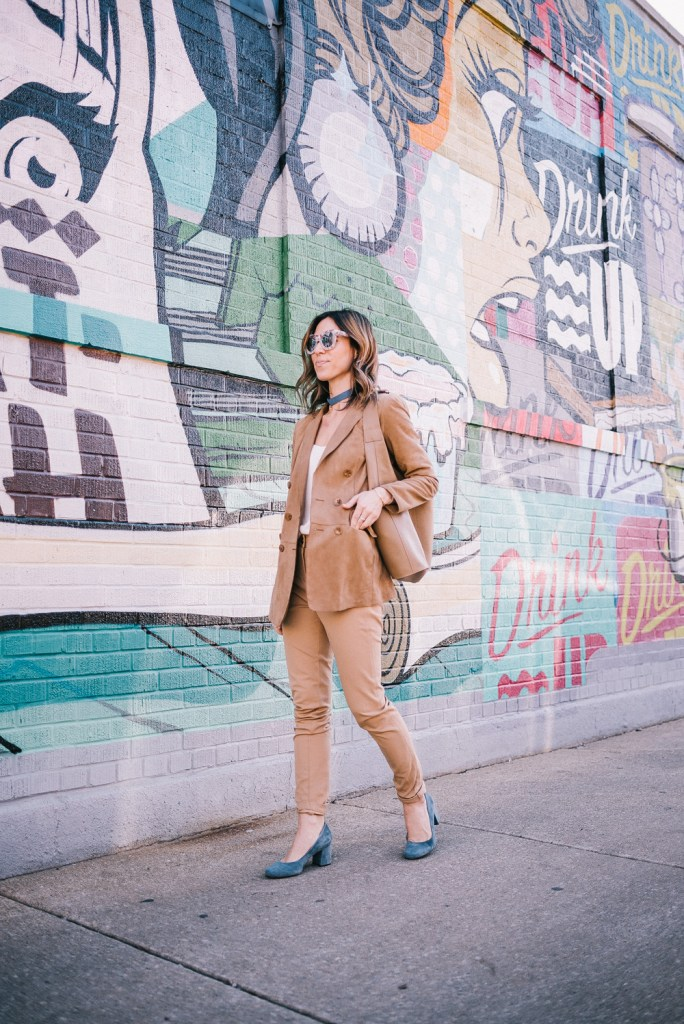 Blogger Mary Krosnjar wearing Suede Pant suit and Blue suede pumps