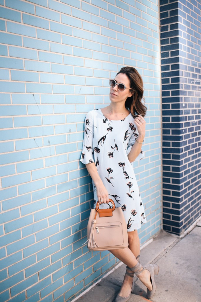 Blogger Mary Krosnjar wearing Blue Floral Dress for Spring from Marshalls