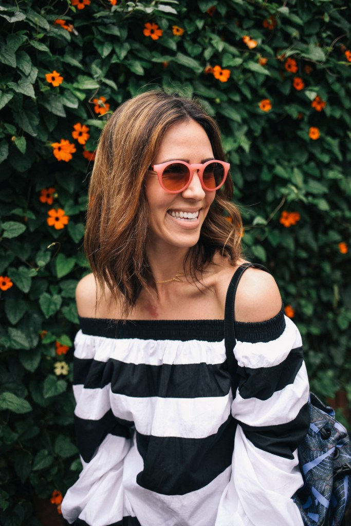 Blogger Mary Krosnjar wearing Pink Loft Sunglasses and MLM Label Off the Shoulder Top